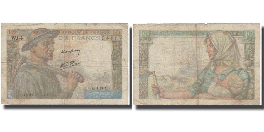 World Coins - France, 10 Francs, 10 F 1941-1949 ''Mineur'', 1944, 1944-06-22, F(12-15)