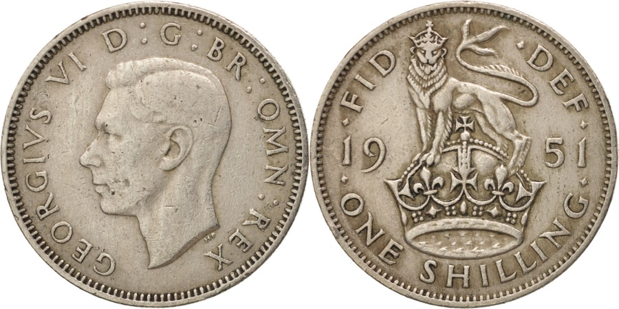World Coins - Great Britain, George VI, Shilling, 1951, , Copper-nickel, KM:876