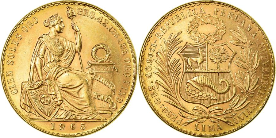 World Coins - Coin, Peru, 100 Soles, 1965, Lima, , Gold, KM:231