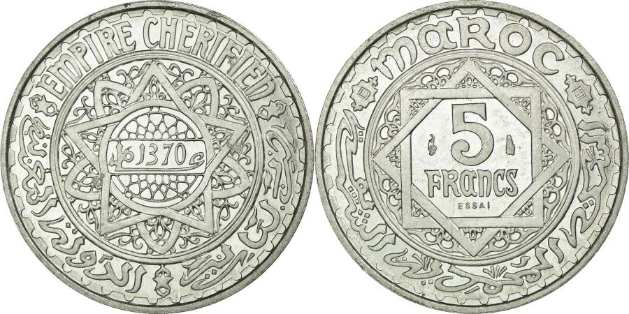 World Coins - Coin, Morocco, 5 Francs, 1950, Paris, MS(65-70), Aluminum, Lecompte:246