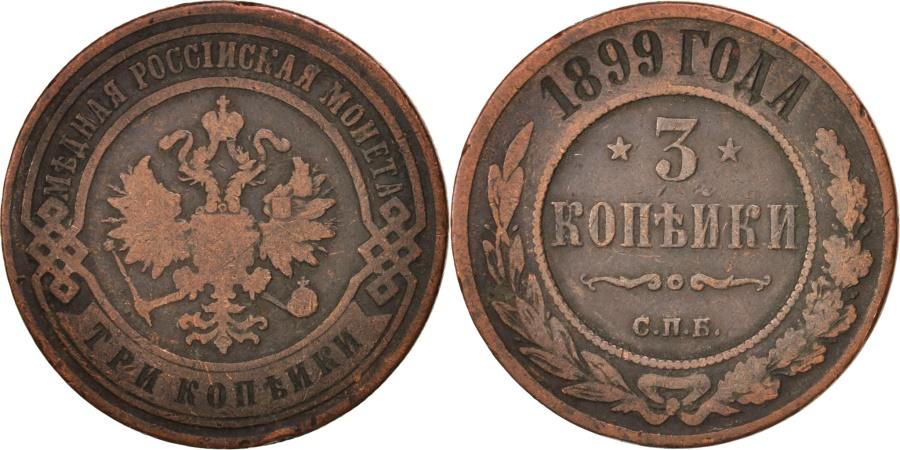 World Coins - Russia, Nicholas II, 3 Kopeks, 1899, Saint-Petersburg, , Copper