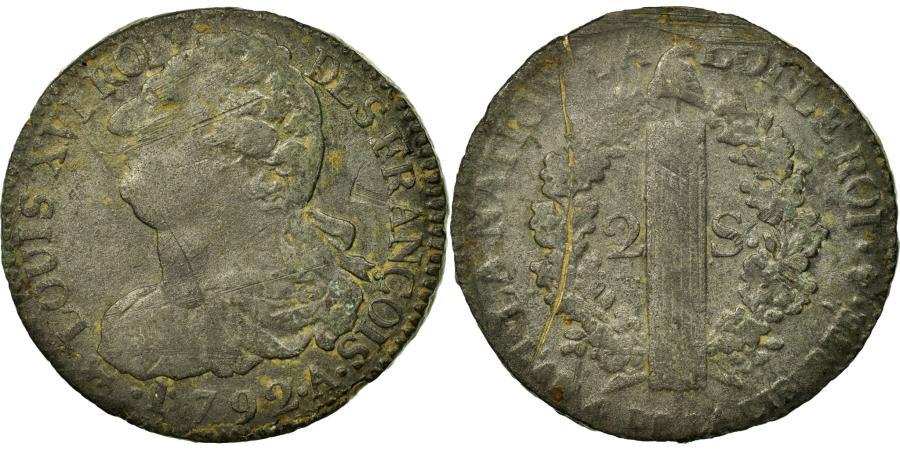 World Coins - Coin, France, 2 sols françois, 2 Sols, 1792, Paris, VF(20-25), Bronze