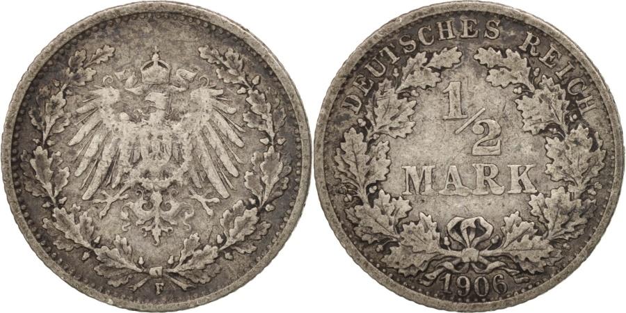 World Coins - GERMANY - EMPIRE, 1/2 Mark, 1906, Stuttgart, , Silver, KM:17
