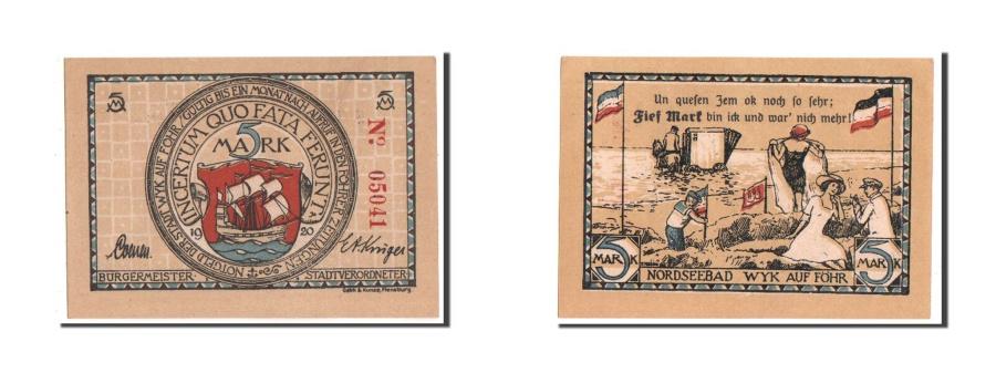 World Coins - Germany, Schleswig-Holstein, 5 Mark, 1920, UNC(63), 05041, Mehl #1462.4b