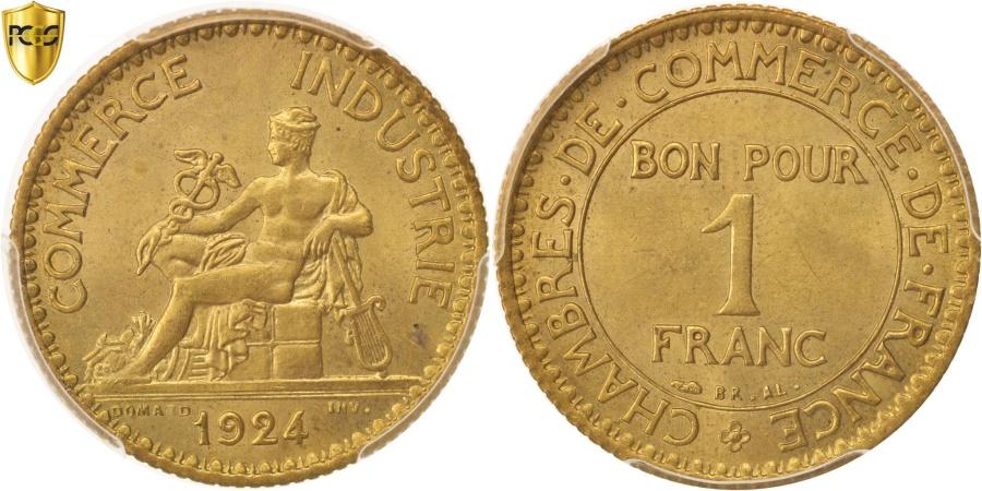 World Coins - France, Chambre de commerce, Franc, 1924, Paris, PCGS, MS65,