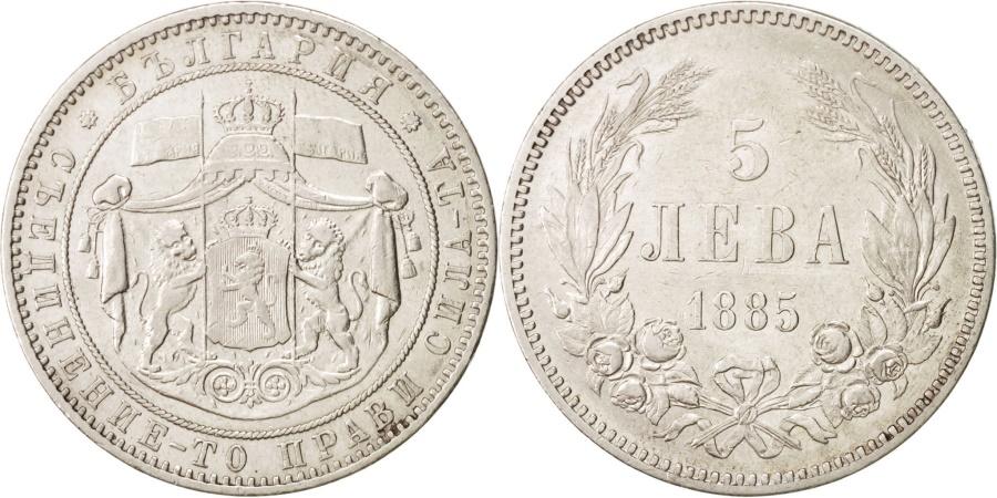 World Coins - Bulgaria 5 Leva 1885 KM:7  Silver