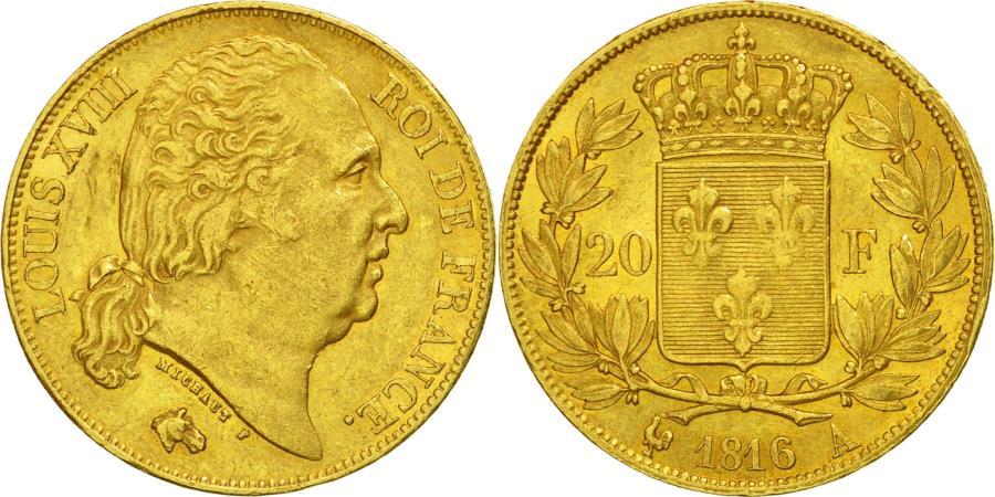 World Coins - Coin, France, Louis XVIII, 20 Francs, 1816, Paris, , Gold, KM 712.1