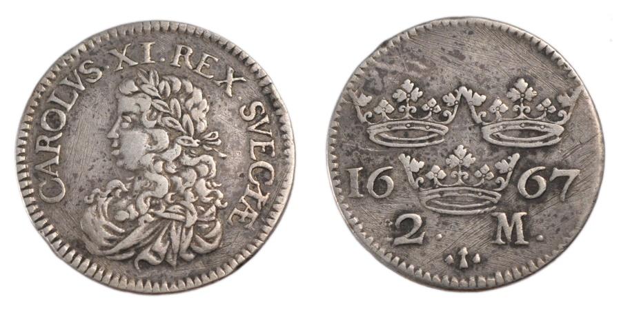 World Coins - SWEDEN, 2 Mark, 1667, Stockholm, KM #237a, , Silver, 9.90
