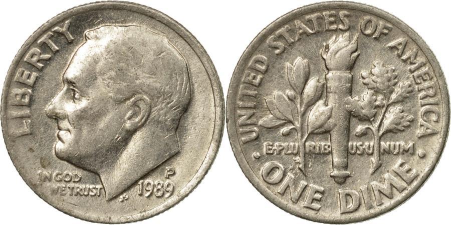 US Coins - Coin, United States, Roosevelt Dime, Dime, 1989, U.S. Mint, Philadelphia