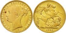 World Coins - Australia, Victoria, Sovereign, 1887, Melbourne, EF(40-45), Gold, KM:7