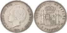 Spain, Alfonso XIII, 5 Pesetas, 1893, EF(40-45), Silver, KM:700