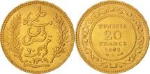 Tunisia, Ali Bey, 20 Francs, 1892, Paris, MS(63), Gold, KM:227