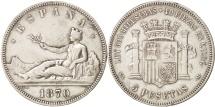 Spain,Provisional Government,5 Pesetas,1870,Madrid,EF(40-45),Silver,KM 655