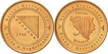 World Coins - BOSNIA-HERZEGOVINA, 50 Feninga, 1998, British Royal Mint, AU(55-58), Copper
