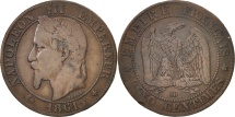 France, Napoleon III, 5 Centimes, 1861, Strasbourg, VF(30-35), KM 797.2