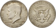 Us Coins - United States, Kennedy Half Dollar, 1969, Denver, AU(50-53), Silver, KM:202a