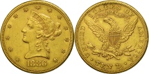 Us Coins - United States,Coronet Head,$10,Eagle,1886,San Francisco,EF(40-45),Gold, KM 102