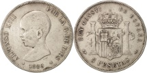 Spain, Alfonso XIII, 5 Pesetas, 1889, Madrid, VF(30-35), Silver, KM:689