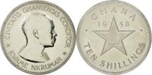 World Coins - Ghana, 10 Shilling, 1958, MS(63), Silver, KM:7