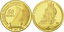 World Coins - France, 50 Euro, L'Hermione, 2012, MS(65-70), Gold, KM:2082