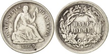 Us Coins - United States, Seated Liberty Half Dime, 1867-S, KM:91