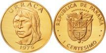 World Coins - Panama, Centesimo, 1975, Franklin Mint, MS(64), Copper Plated Zinc, KM:33.1