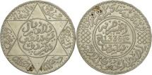 Morocco, Yusuf, 1/2 Rial, 5 Dirhams, 1917, bi-Bariz, Paris, AU(55-58), Silver