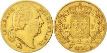 France, Louis XVIII, 20 Francs, 1820, Paris, VF(30-35), Gold, KM 712.1