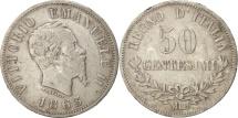 Italy, Vittorio Emanuele II, 50 Centesimi, 1863, Milan, VF(30-35), Silver