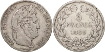 France, Louis-Philippe, 5 Francs, 1839, Bordeaux, VF(30-35), Silver, KM:749.7