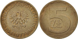 World Coins - Poland, 5 Zlotych, 1977, Warsaw, , Brass, KM:81.1