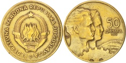 World Coins - YUGOSLAVIA, 50 Dinara, 1955, KM #35, , Aluminum-Bronze, 25.5, 5.82