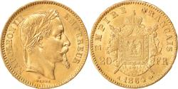 World Coins - Coin, France, Napoleon III, 20 Francs, 1864, Paris, , Gold, KM:801.1