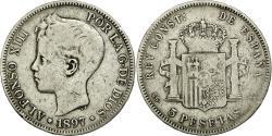 World Coins - Coin, Spain, Alfonso XIII, 5 Pesetas, 1897, Valencia, VF(30-35), Silver, KM:707