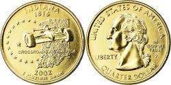 Us Coins - Coin, United States, Indiana, Quarter, 2002, U.S. Mint, Philadelphia, golden