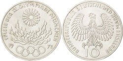 World Coins - GERMANY - FEDERAL REPUBLIC, 10 Mark, 1972, Hambourg, KM #135, ,...