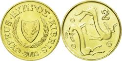World Coins - Coin, Cyprus, 2 Cents, 2003, , Nickel-brass, KM:54.3