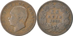 World Coins - PORTUGAL, 20 Reis, 1883, KM #527, , Bronze, 30, 11.39