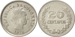 World Coins - COLOMBIA, 20 Centavos, 1971, KM #246.1, , Nickel Clad Steel, 23.6, 4.39