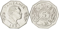 World Coins - TANZANIA, 5 Shilingi, 1993, KM #23a.2, , Nickel Clad Steel, 26.5, 8.51