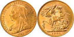 World Coins - Coin, Australia, Victoria, Sovereign, 1901, Perth, , Gold, KM:13