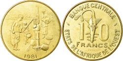 World Coins - Coin, West African States, 10 Francs, 1981, MS(65-70), Brass, KM:E12