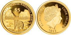World Coins - Coin, Cook Islands, Elizabeth II, 125 years Yosemite national park, 5 Dollars