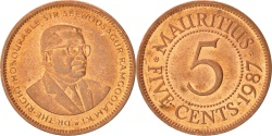 World Coins - MAURITIUS, 5 Cents, 1987, KM #52, , Copper Plated Steel, 3.00