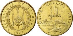 World Coins - Coin, Djibouti, 10 Francs, 1977, MS(65-70), Aluminium-Bronze, KM:E4