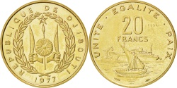 World Coins - DJIBOUTI, 20 Francs, 1977, KM #E5, , Bronze-Aluminium, 4.00