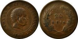World Coins - Coin, Portugal, Carlos I, 20 Reis, 1891, EF(40-45), Bronze, KM:533