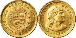 World Coins - Coin, Peru, 1/5 Libra, Pound, 1964, Lima, , Gold, KM:210