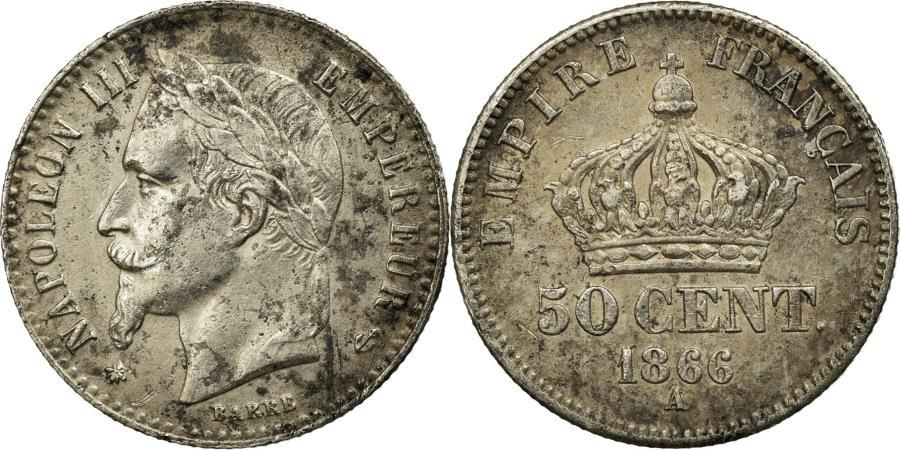 World Coins - Coin, France, Napoleon III, Napoléon III, 50 Centimes, 1866, Paris, AU(50-53)