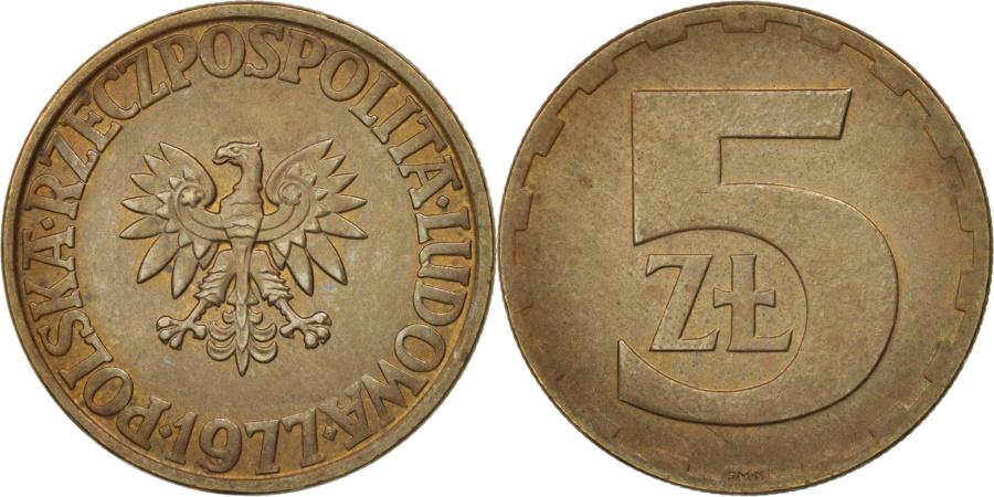 World Coins - Poland, 5 Zlotych, 1977, Warsaw, , Brass, KM:81.1